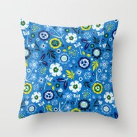 Folk Flowers (Blue) Throw Pillow