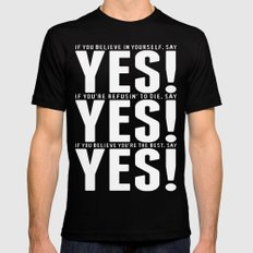 YES! YES! YES! Black Mens Fitted Tee SMALL