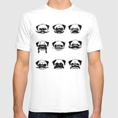 Moustaches of The Pug Mens Fitted Tee White SMALL