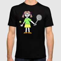 Tennis Girl Mens Fitted Tee Black SMALL