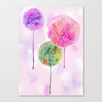Succulent And Roses Canvas Print