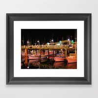 Harbor Reflection At Nig… Framed Art Print
