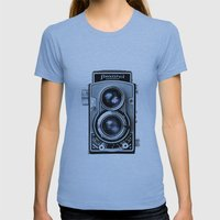 Flexaret Vinatge Camera Womens Fitted Tee Athletic Blue SMALL