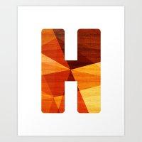 Letter H - Wooden Initia… Art Print
