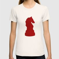 Red Chess Piece - Knight Womens Fitted Tee Natural SMALL