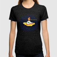 Yellow Submarine Womens Fitted Tee Tri-Black SMALL
