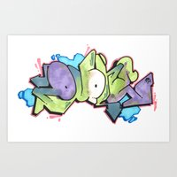 QUONE Green Bubble Piece Art Print