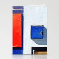 Red, blue, white shapes Stationery Cards