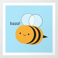 Kawaii Buzzy Bumble Bee Art Print