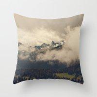 Mountains through the Fog Throw Pillow