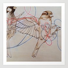 Our Little Hearts Are Intertwined (left) Art Print