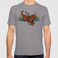 Dinosaur Cowboy Rodeo! Mens Fitted Tee Athletic Grey SMALL