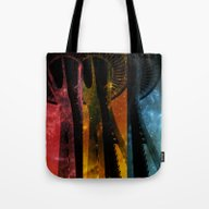 Colorful Space Needle Tote Bag