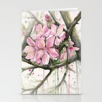 cherry blossom Stationery Cards featuring Cherry Blossom by Olechka