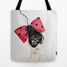 Debry Hat. Black Lace Head Piece. Tote Bag