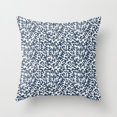 navy coral pattern Throw Pillow