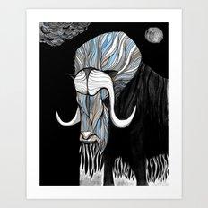 Muskox blk Art Print