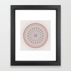Beige Red Brown Mandala Framed Art Print