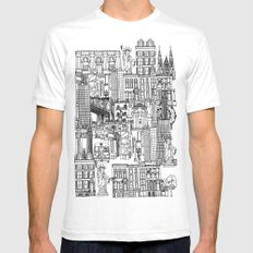 New York yellow White Mens Fitted Tee SMALL