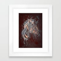 DARK ZEBRA Framed Art Print