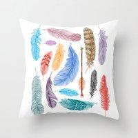 Feathers on White Throw Pillow