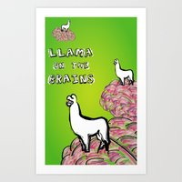 Llama on the Brains Art Print