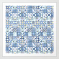 Blue Floor Tile Mashup Art Print