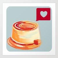 Caramel Heart Flan Art Print