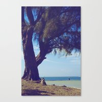 Fisherman in the distance, Mauritius Canvas Print