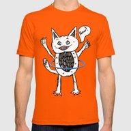 Monster Hula Hoop Mens Fitted Tee Orange SMALL