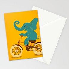 Elephant on the bike Stationery Cards
