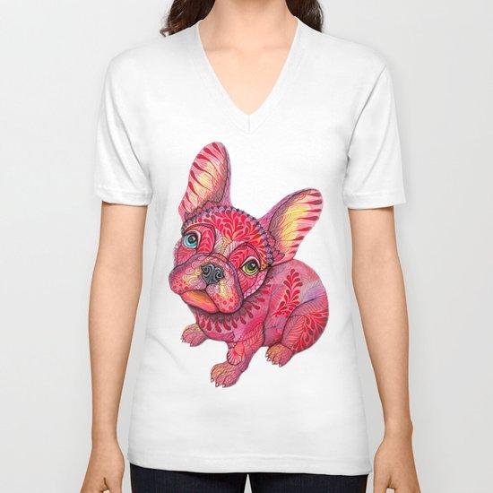 Raspberry frenchie V-neck T-shirt