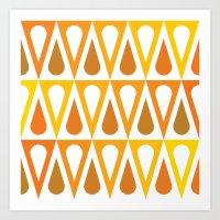 Orange curved triangle pattern Art Print