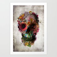 floral Art Prints featuring SKULL 2 by Ali GULEC
