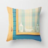 Beach Hut window- orange Throw Pillow