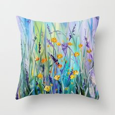 Flowers Field At Dawn Throw Pillow