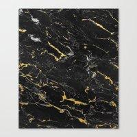 Gold Flecked Black Marbl… Canvas Print