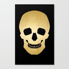 Gold Skull on black Canvas Print