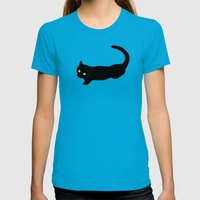 Black Cat Womens Fitted Tee Teal SMALL