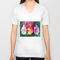 Unisex V-Neck featuring Christmas Ball Ornaments by Annie Zeno
