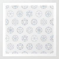 Geocircles (Blue) Art Print