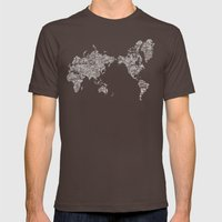 Passport Stamp Map Special Edition, Black and White Mens Fitted Tee Brown SMALL