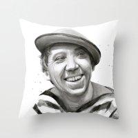 Yuriy Nikulin Portrait Watercolor   Юрий Никулин портрет Throw Pillow