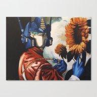 Optimus Prime With Sunfl… Canvas Print