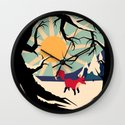 Fox roaming around II Wall Clock