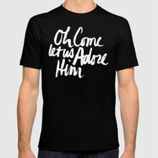 O COME LET US ADORE HIM Mens Fitted Tee Black SMALL