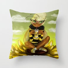 Bug Girls: Bee snack break Throw Pillow