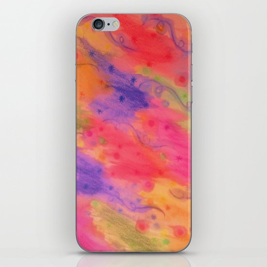 SEEING STARS 3 - Peach Pink Pretty Starry Sky Abstract Watercolor Painting Lovely Feminine Pattern iPhone & iPod Skin