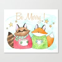 Be Merry! Coffee, cocoa, tea lovers print Canvas Print