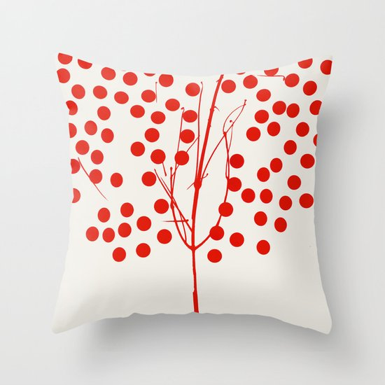 Tree of Life Red Throw Pillow